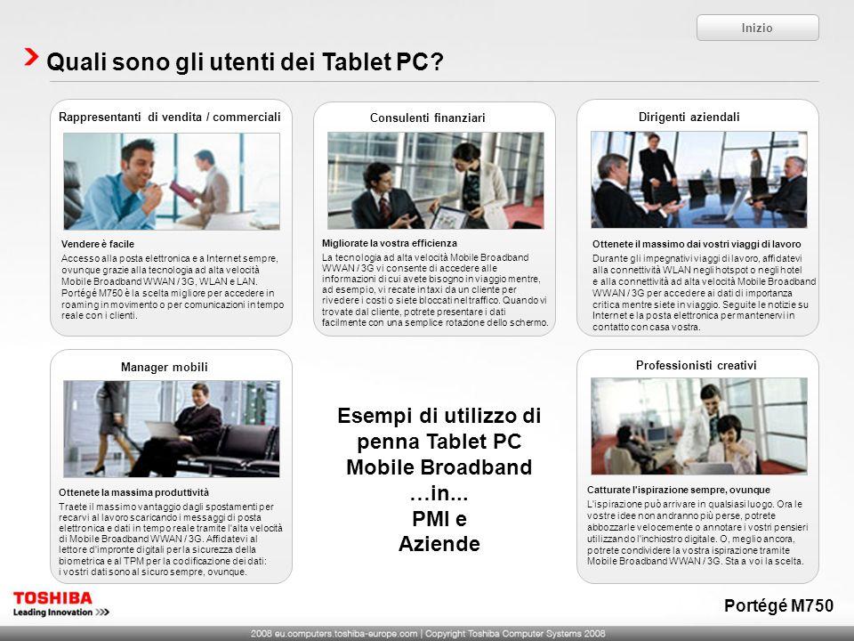 Quali sono gli utenti dei Tablet PC? Inizio Esempi di utilizzo di penna Tablet PC Mobile Broadband …in... PMI e Aziende Migliorate la vostra efficienz