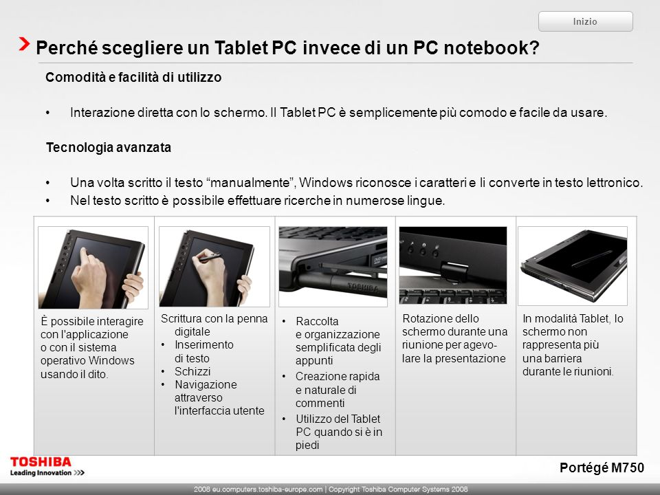Perché scegliere un Tablet PC invece di un PC notebook? Inizio Comodità e facilità di utilizzo Interazione diretta con lo schermo. Il Tablet PC è semp