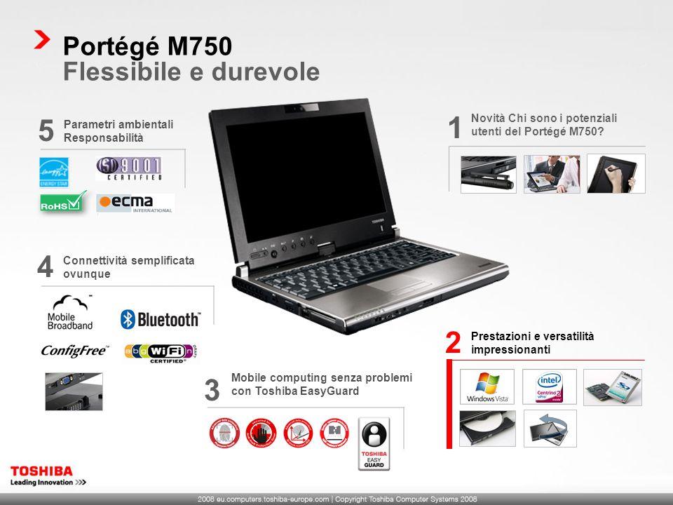Novità Chi sono i potenziali utenti del Portégé M750? 1 Prestazioni e versatilità impressionanti 2 Mobile computing senza problemi con Toshiba EasyGua