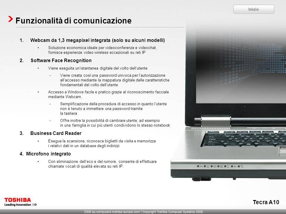 Tecra A10 Funzionalità di comunicazione 1.Webcam da 1,3 megapixel integrata (solo su alcuni modelli) Soluzione economica ideale per videoconferenze e