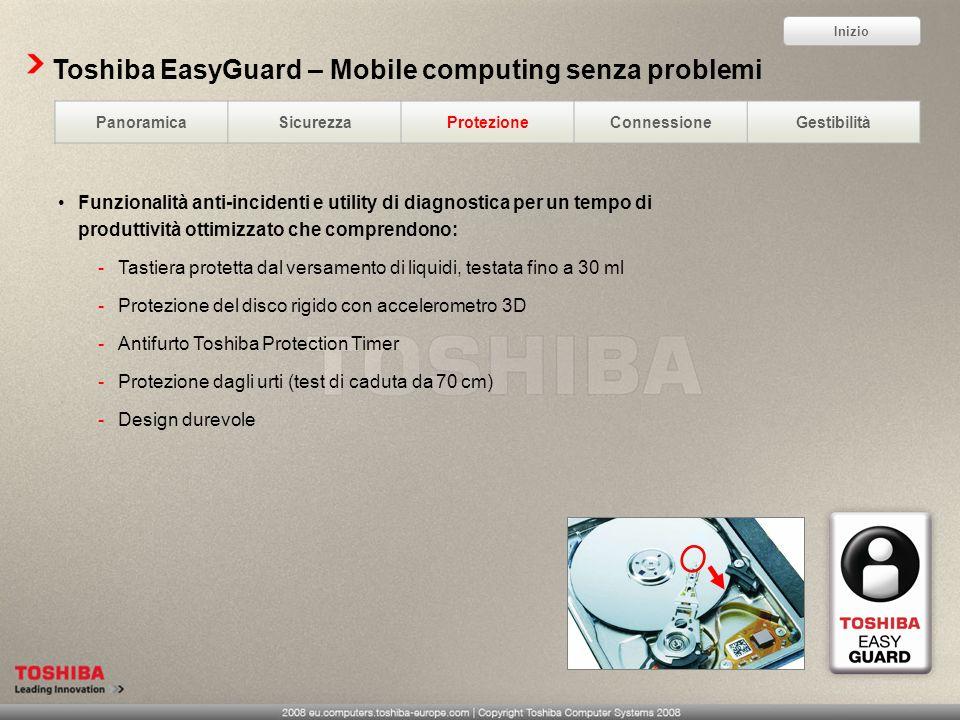 Toshiba EasyGuard – Mobile computing senza problemi Funzionalità anti-incidenti e utility di diagnostica per un tempo di produttività ottimizzato che