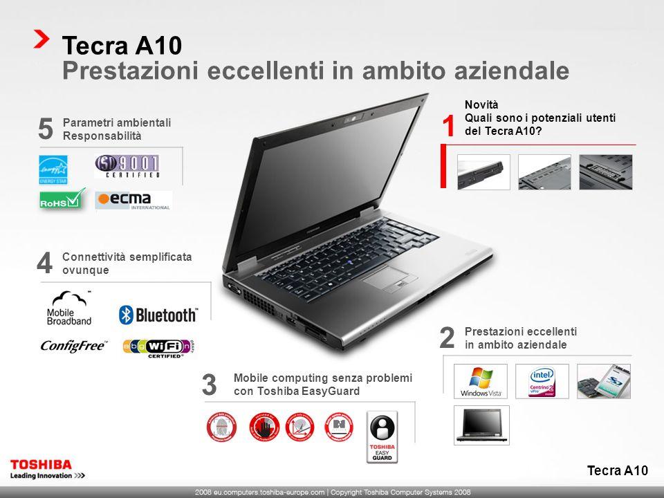 Novità Quali sono i potenziali utenti del Tecra A10? 1 Prestazioni eccellenti in ambito aziendale 2 Mobile computing senza problemi con Toshiba EasyGu