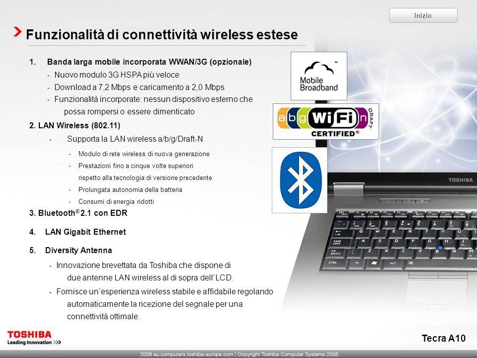 Tecra A10 Funzionalità di connettività wireless estese 1.Banda larga mobile incorporata WWAN/3G (opzionale) - Nuovo modulo 3G HSPA più veloce - Downlo