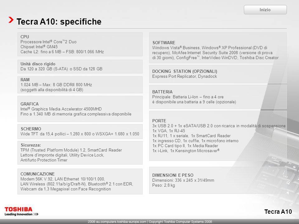 Tecra A10 Tecra A10: specifiche CPU Processore Intel ® Core 2 Duo Chipset Intel ® GM45 Cache L2: fino a 6 MB – FSB: 800/1.066 MHz Unità disco rigido D