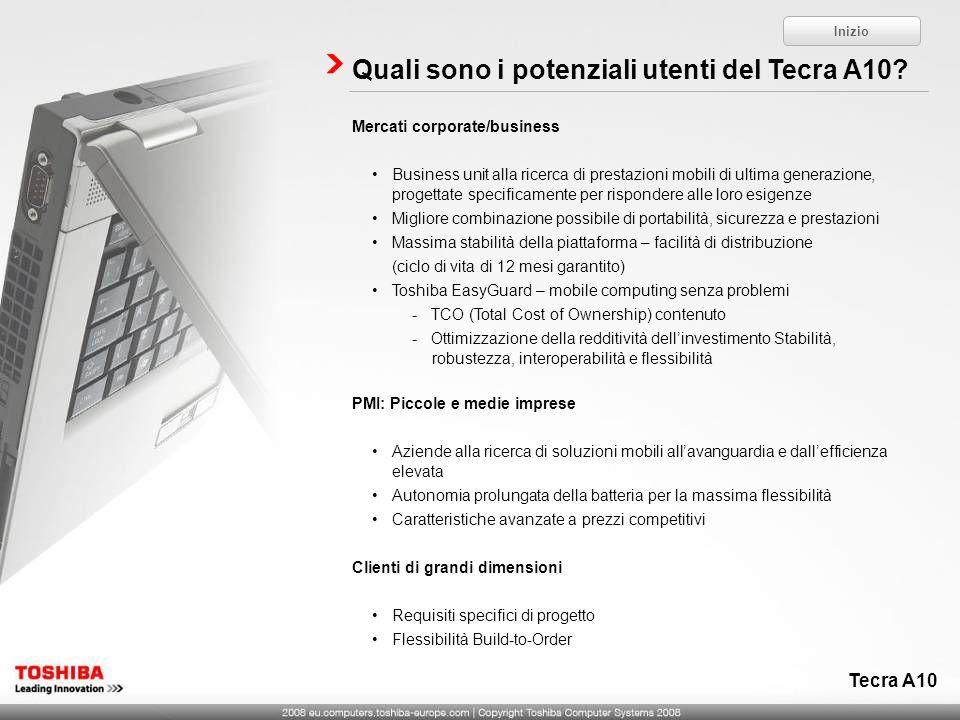 Quali sono i potenziali utenti del Tecra A10? Mercati corporate/business Business unit alla ricerca di prestazioni mobili di ultima generazione, proge