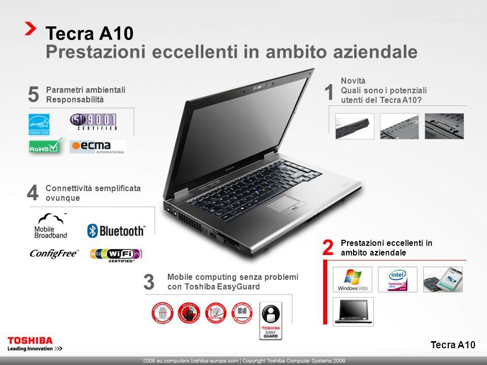 Prestazioni eccellenti in ambito aziendale 2 Mobile computing senza problemi con Toshiba EasyGuard 3 Parametri ambientali Responsabilità 5 Tecra A10 P