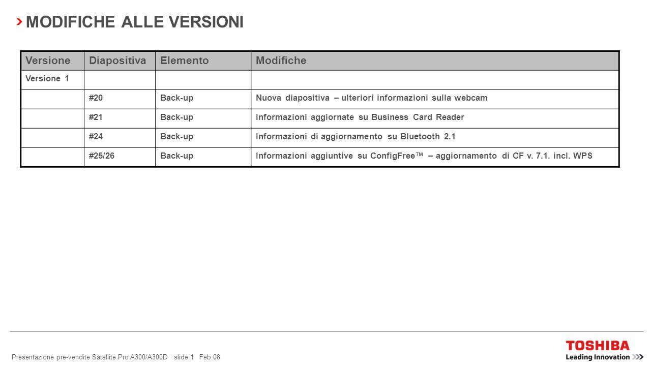 Presentazione pre-vendite Satellite Pro A300/A300D slide:1 Feb.08 MODIFICHE ALLE VERSIONI VersioneDiapositivaElementoModifiche Versione 1 #20Back-upNuova diapositiva – ulteriori informazioni sulla webcam #21Back-upInformazioni aggiornate su Business Card Reader #24Back-upInformazioni di aggiornamento su Bluetooth 2.1 #25/26Back-upInformazioni aggiuntive su ConfigFree – aggiornamento di CF v.