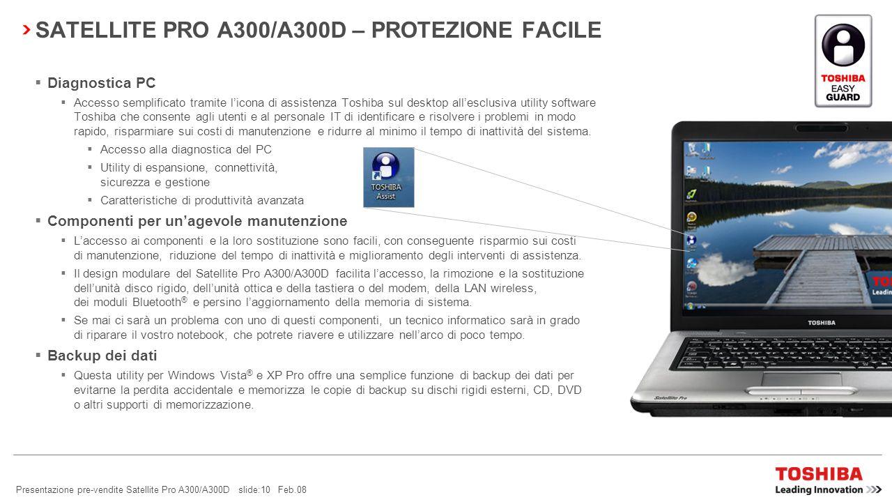 Presentazione pre-vendite Satellite Pro A300/A300D slide:9 Feb.08 SATELLITE PRO A300/A300D – SICUREZZA FACILE Accesso wireless tramite telefono cellul