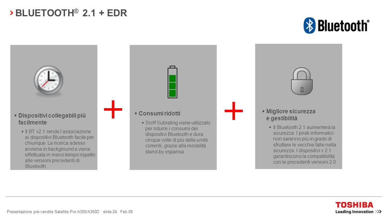 Presentazione pre-vendite Satellite Pro A300/A300D slide:23 Feb.08 ACCESSO WIRELESS TRAMITE TELEFONO CELLULARE BLUETOOTH ® Sicurezza e praticità: lute