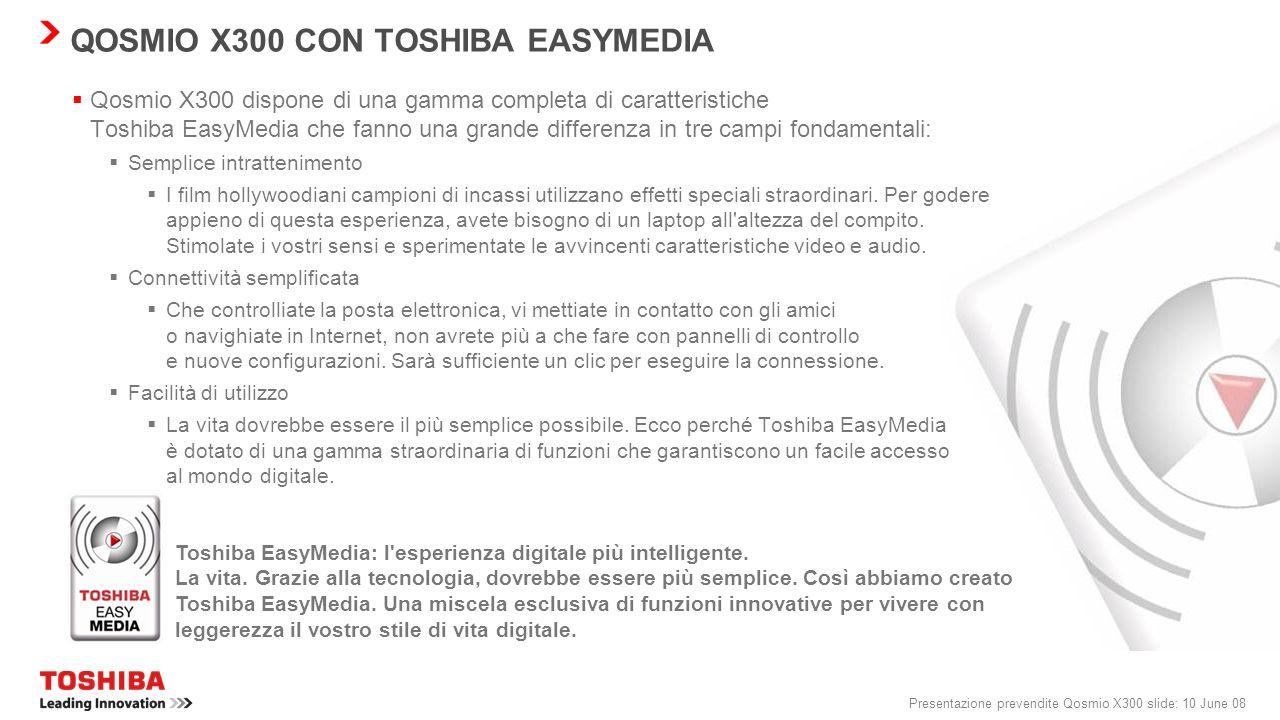 Presentazione prevendite Qosmio X300 slide: 9 June 08 QOSMIO X300: LEADING INNOVATION TOSHIBA EASYMEDIA TECNOLOGIA D'AVANGUARDIA MIGLIOR DESIGN