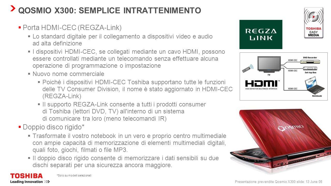 Presentazione prevendite Qosmio X300 slide: 12 June 08 PANORAMICA DELLA FUNZIONALITÀ DOLBY DI SECONDA GENERAZIONE Dolby ® Control Center Dolby Control