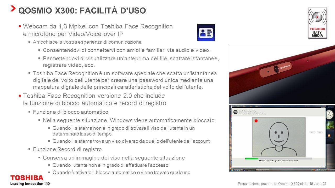 Presentazione prevendite Qosmio X300 slide: 14 June 08 QOSMIO X300: CONNETTIVITÀ SEMPLIFICATA WLAN incl. a/b/g/Draft-N* Questo standard di rete wirele