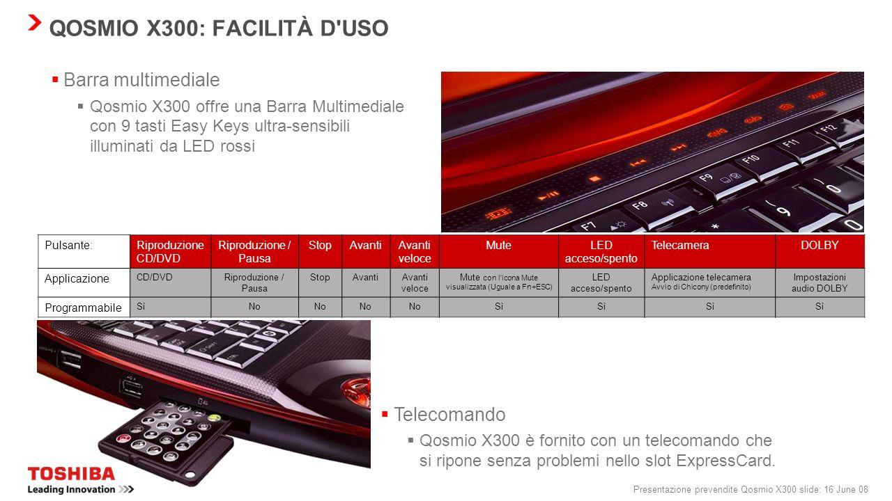 Presentazione prevendite Qosmio X300 slide: 15 June 08 QOSMIO X300: FACILITÀ D'USO Webcam da 1,3 Mpixel con Toshiba Face Recognition e microfono per V