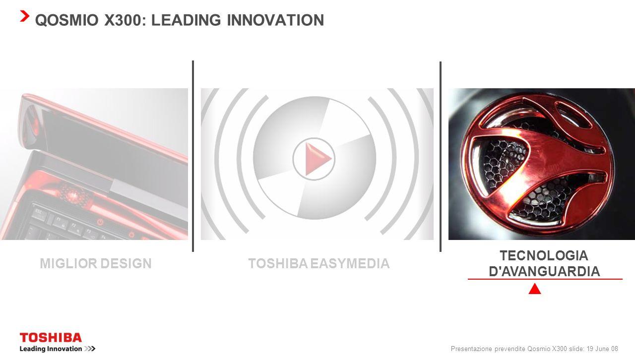 Presentazione prevendite Qosmio X300 slide: 18 June 08 QOSMIO X300: FACILITÀ D'USO Lettore di impronte digitali La tecnologia del sensore per impronte