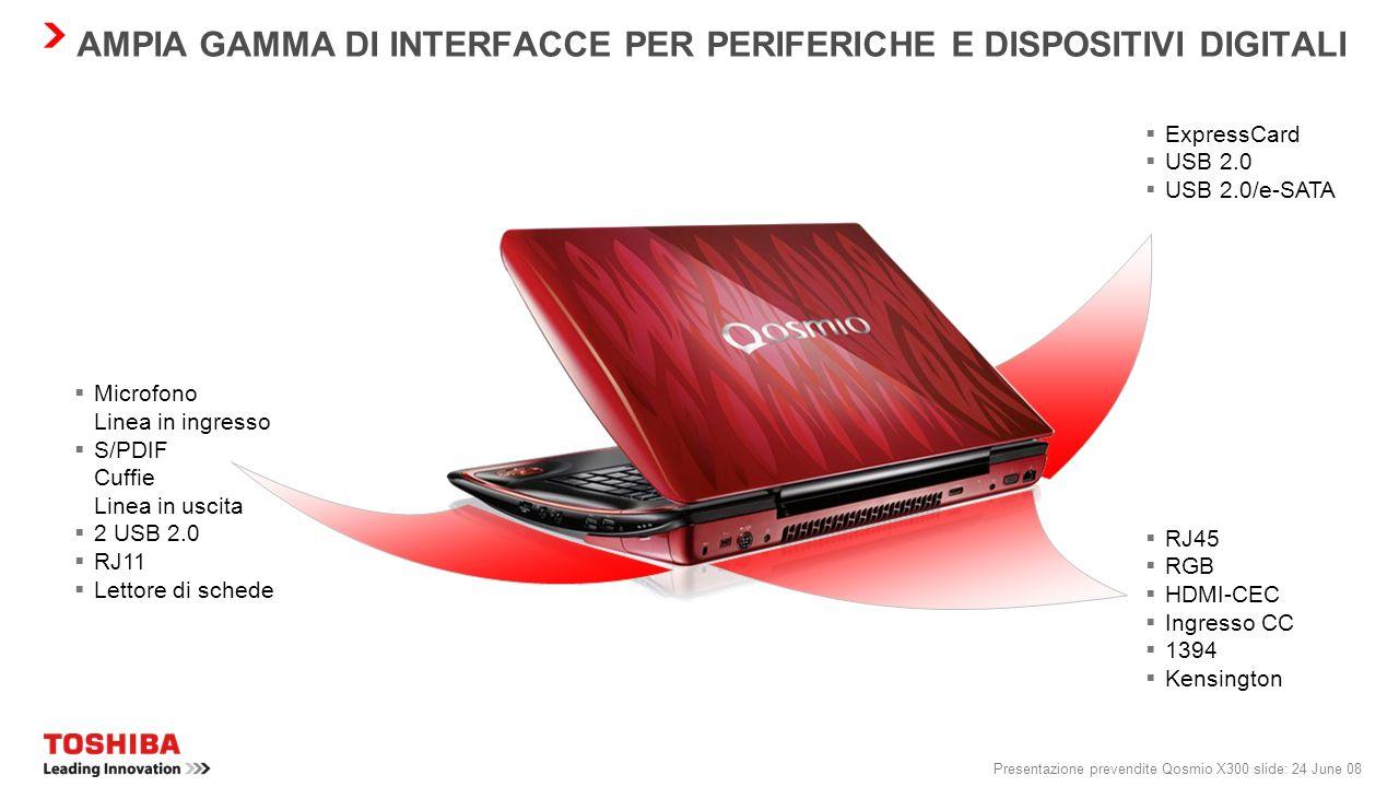 Presentazione prevendite Qosmio X300 slide: 23 June 08 QOSMIO X300: TECNOLOGIA D'AVANGUARDIA Schermo Possibilità di scelta tra 2 schermi Toshiba TruBr