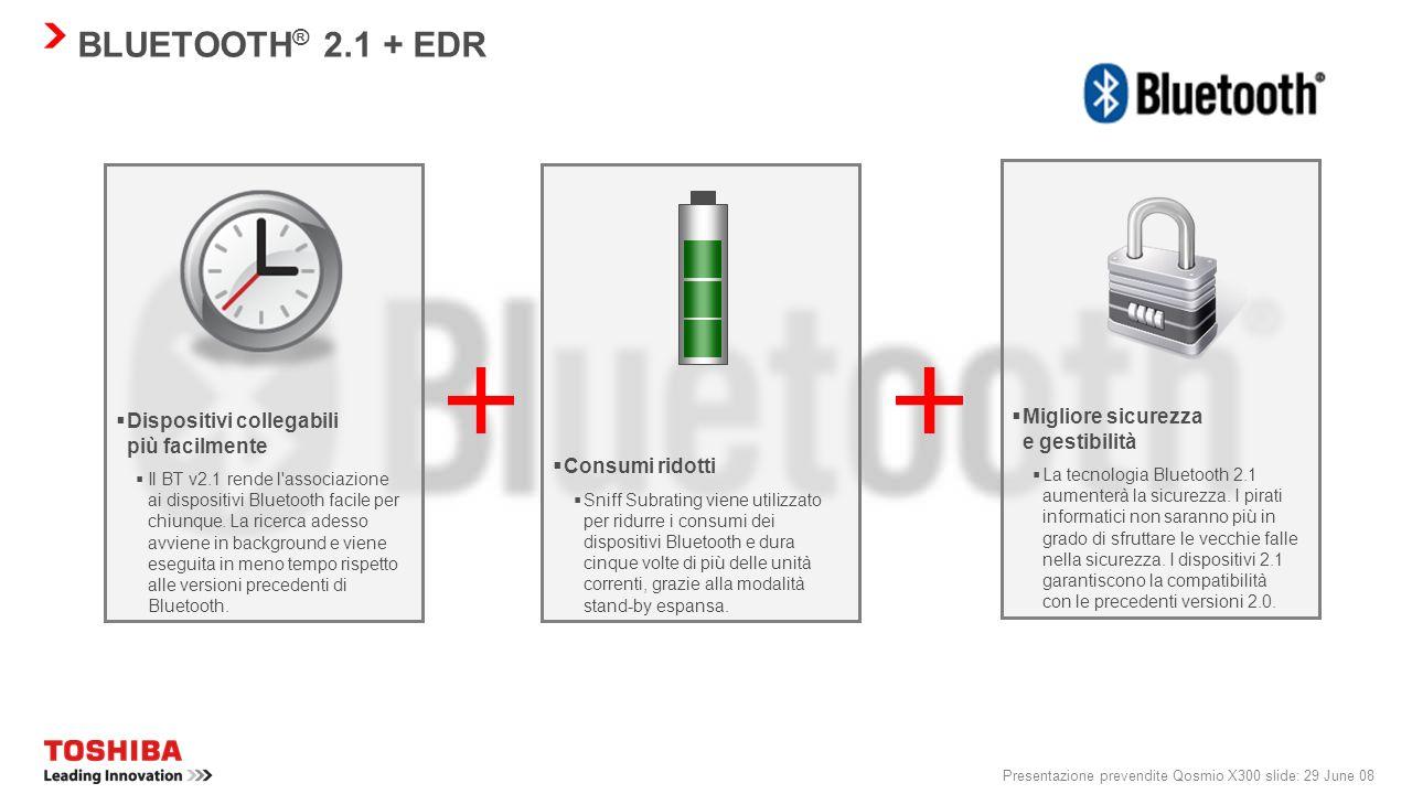Presentazione prevendite Qosmio X300 slide: 28 June 08 QOSMIO X300: FACILITÀ D'USO Identificazione facile e veloce Toshiba Face Recognition è un metod