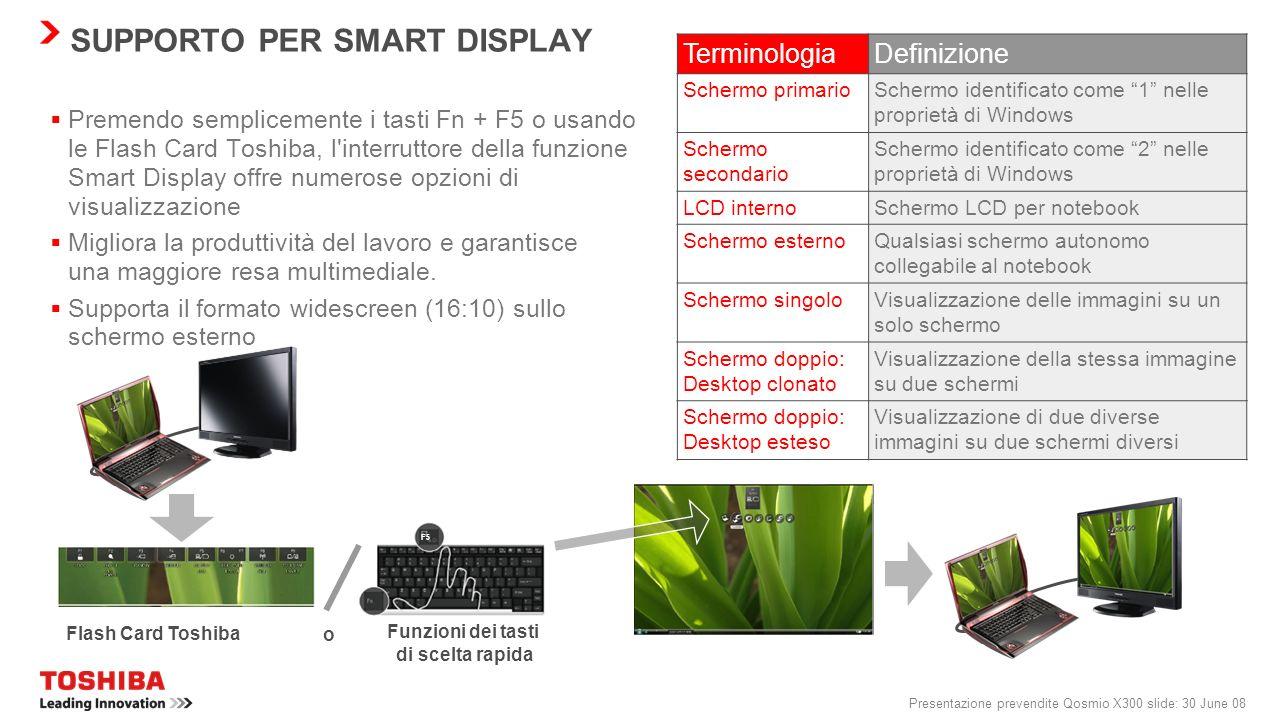 Presentazione prevendite Qosmio X300 slide: 29 June 08 BLUETOOTH ® 2.1 + EDR Consumi ridotti Sniff Subrating viene utilizzato per ridurre i consumi de