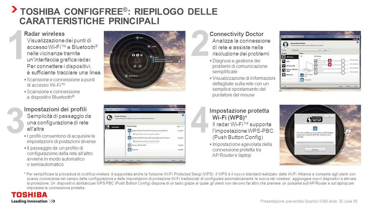 Presentazione prevendite Qosmio X300 slide: 31 June 08 Controllo semplificato dei dispositivi di comunicazione wireless Rilevamento automatico delle c