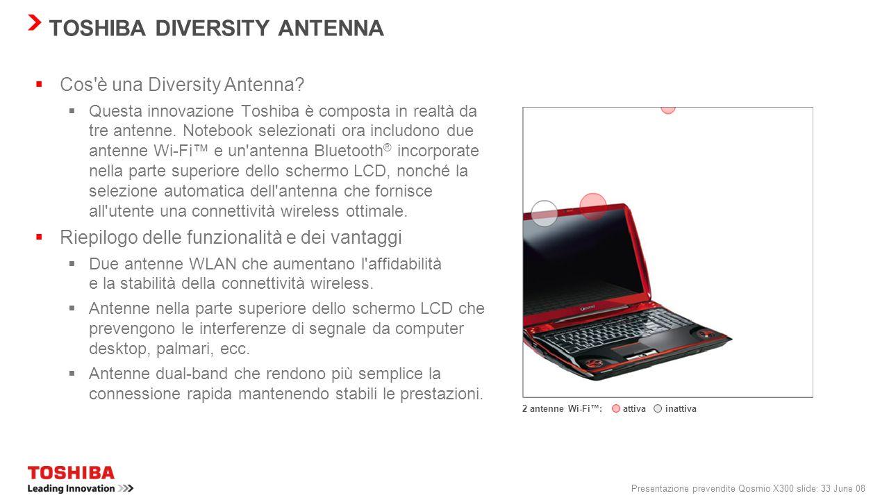 Presentazione prevendite Qosmio X300 slide: 32 June 08 Radar wireless Visualizzazione dei punti di accesso Wi-Fi e Bluetooth ® nelle vicinanze tramite
