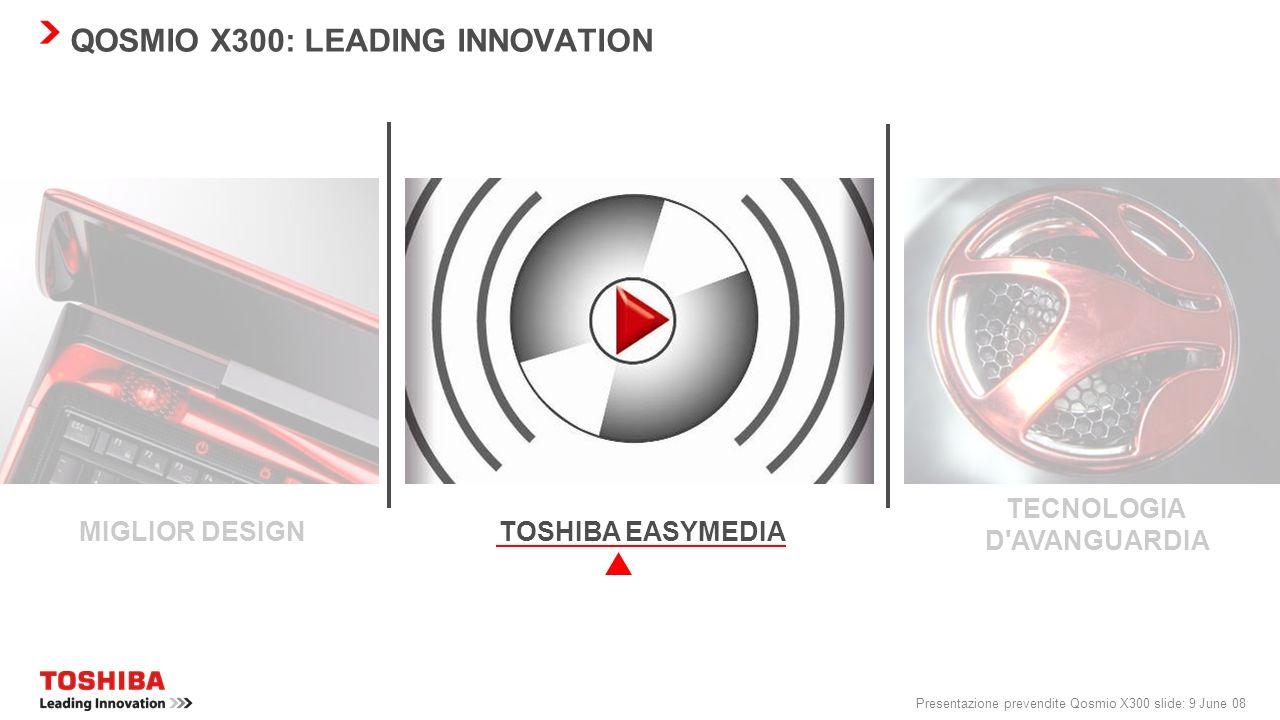 Presentazione prevendite Qosmio X300 slide: 9 June 08 QOSMIO X300: LEADING INNOVATION TOSHIBA EASYMEDIA TECNOLOGIA D AVANGUARDIA MIGLIOR DESIGN