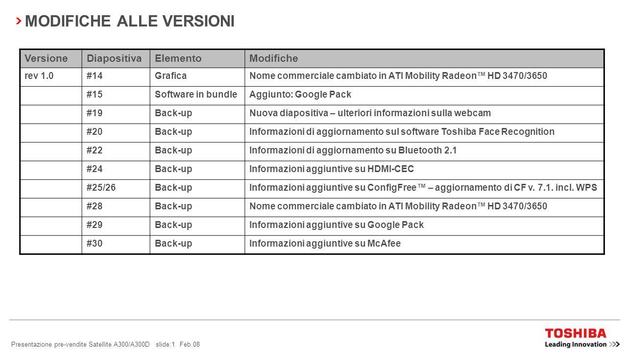 Presentazione pre-vendite Satellite A300/A300D slide:1 Feb.08 MODIFICHE ALLE VERSIONI VersioneDiapositivaElementoModifiche rev 1.0#14GraficaNome commerciale cambiato in ATI Mobility Radeon HD 3470/3650 #15Software in bundleAggiunto: Google Pack #19Back-upNuova diapositiva – ulteriori informazioni sulla webcam #20Back-upInformazioni di aggiornamento sul software Toshiba Face Recognition #22Back-upInformazioni di aggiornamento su Bluetooth 2.1 #24Back-upInformazioni aggiuntive su HDMI-CEC #25/26Back-upInformazioni aggiuntive su ConfigFree – aggiornamento di CF v.