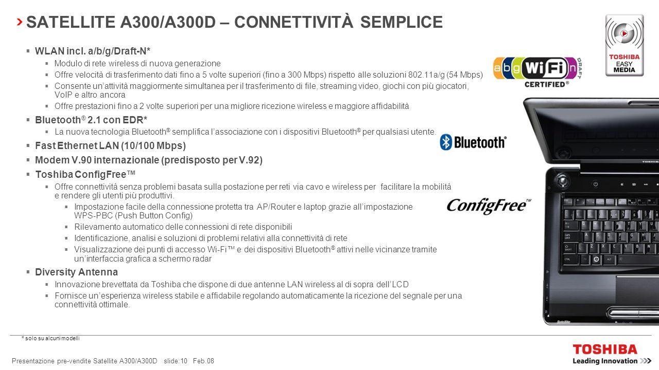 Presentazione pre-vendite Satellite A300/A300D slide:9 Feb.08 SATELLITE A300/A300D – INTRATTENIMENTO SEMPLICE Altoparlanti stereo Harman Kardon ® Ques
