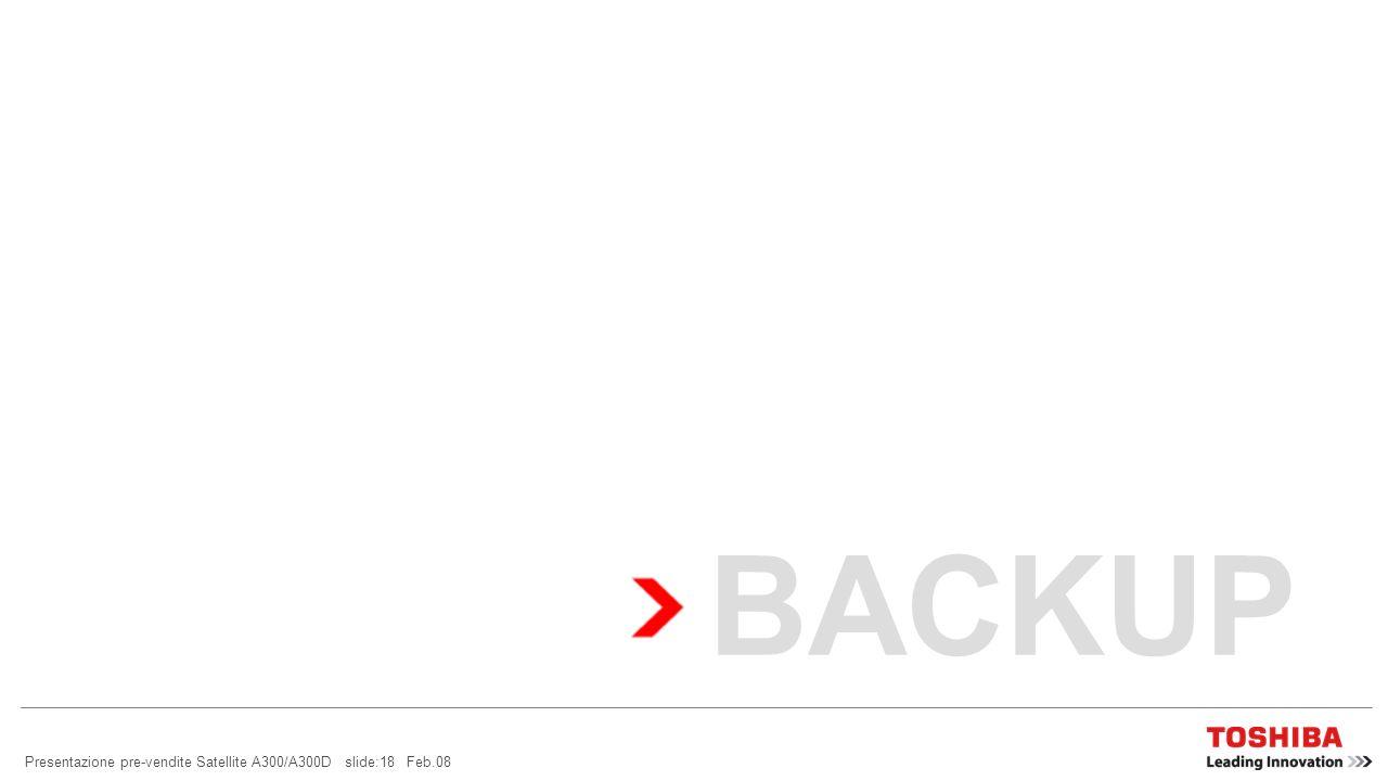 Presentazione pre-vendite Satellite A300/A300D slide:17 Feb.08