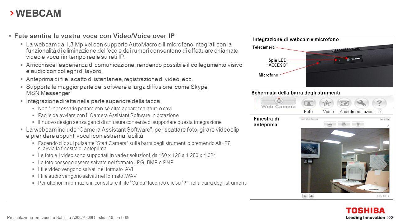 Presentazione pre-vendite Satellite A300/A300D slide:18 Feb.08 BACKUP