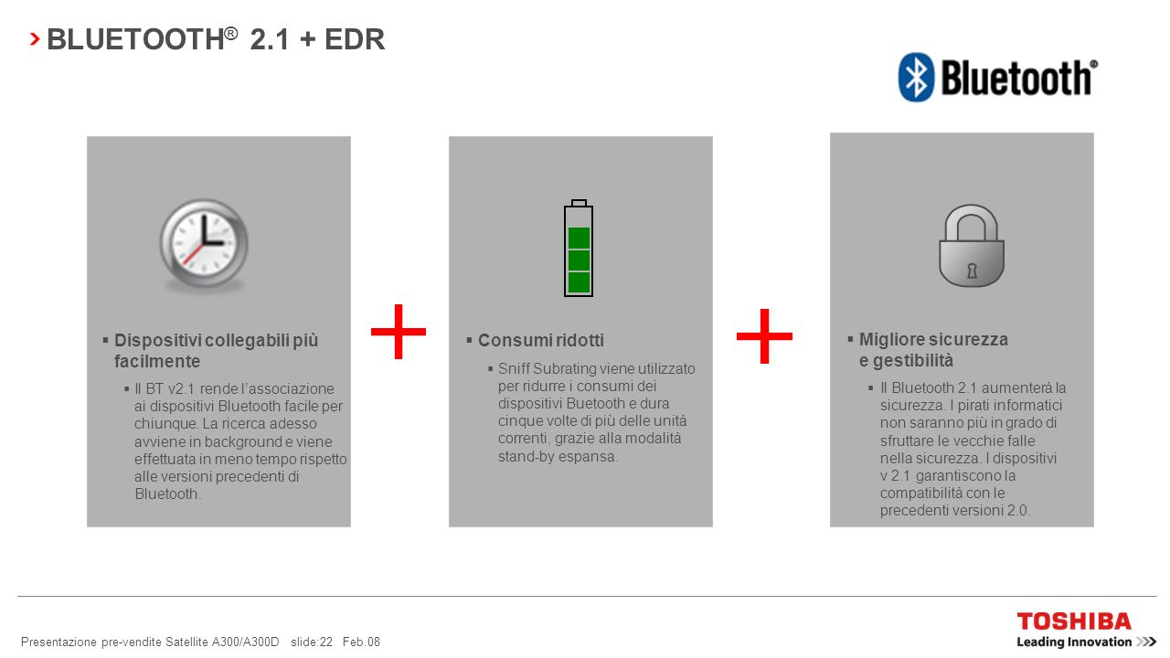 Presentazione pre-vendite Satellite A300/A300D slide:21 Feb.08 ACCESSO WIRELESS TRAMITE TELEFONO CELLULARE BLUETOOTH ® Sicurezza e praticità: lutente