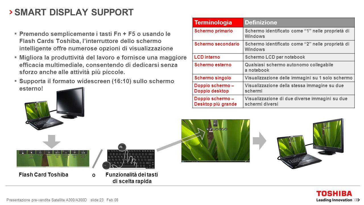 Presentazione pre-vendite Satellite A300/A300D slide:22 Feb.08 BLUETOOTH ® 2.1 + EDR Consumi ridotti Sniff Subrating viene utilizzato per ridurre i co