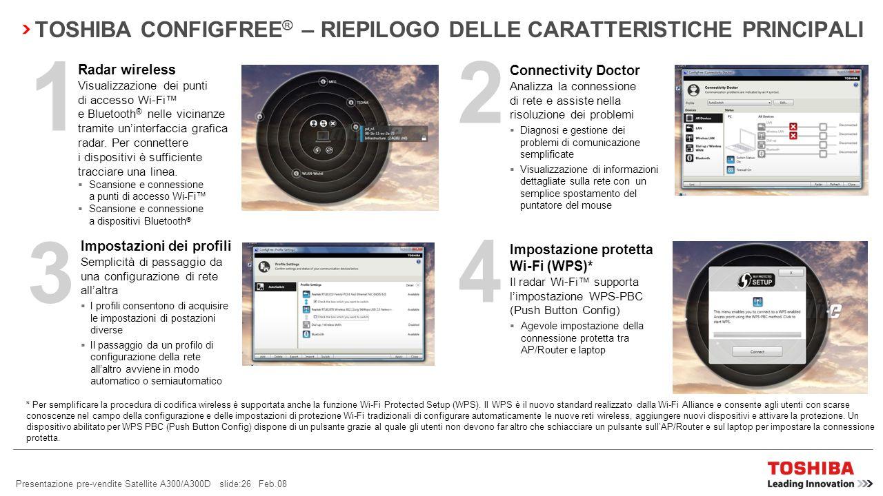 Presentazione pre-vendite Satellite A300/A300D slide:25 Feb.08 Agevole impostazione della connessione protetta tra AP/Router e laptop Controllo sempli