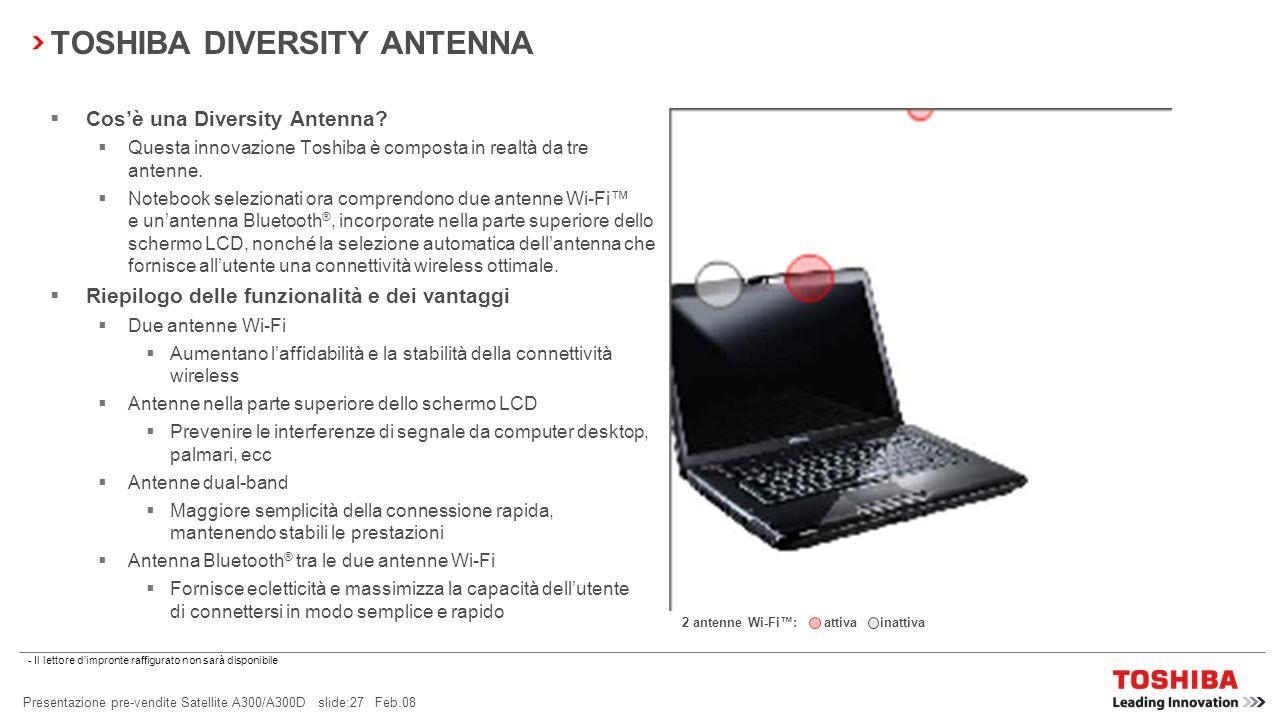 Presentazione pre-vendite Satellite A300/A300D slide:26 Feb.08 Radar wireless Visualizzazione dei punti di accesso Wi-Fi e Bluetooth ® nelle vicinanze