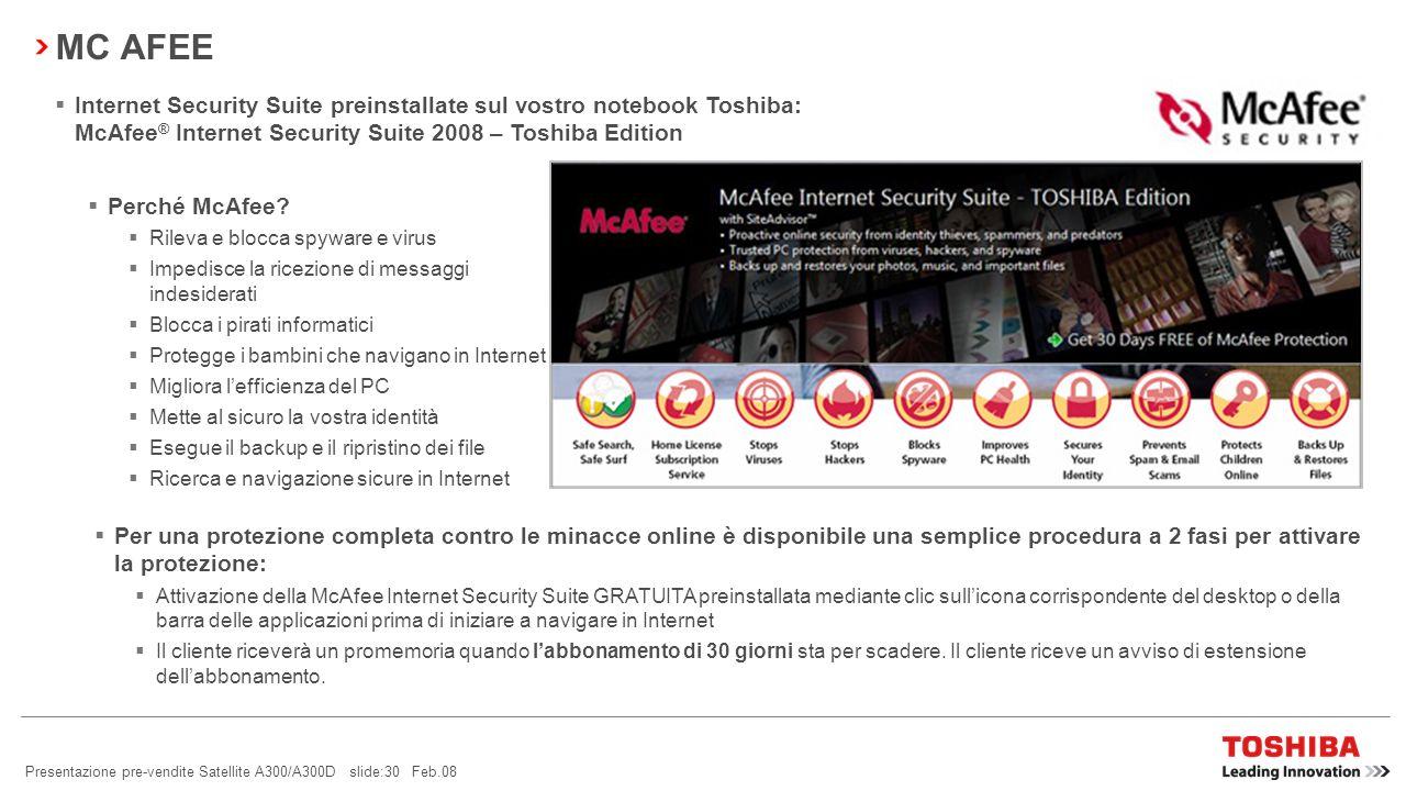 Presentazione pre-vendite Satellite A300/A300D slide:29 Feb.08 GOOGLE PACK La preinstallazione di Google su tutti i notebook Toshiba EMEA (tutti i sis