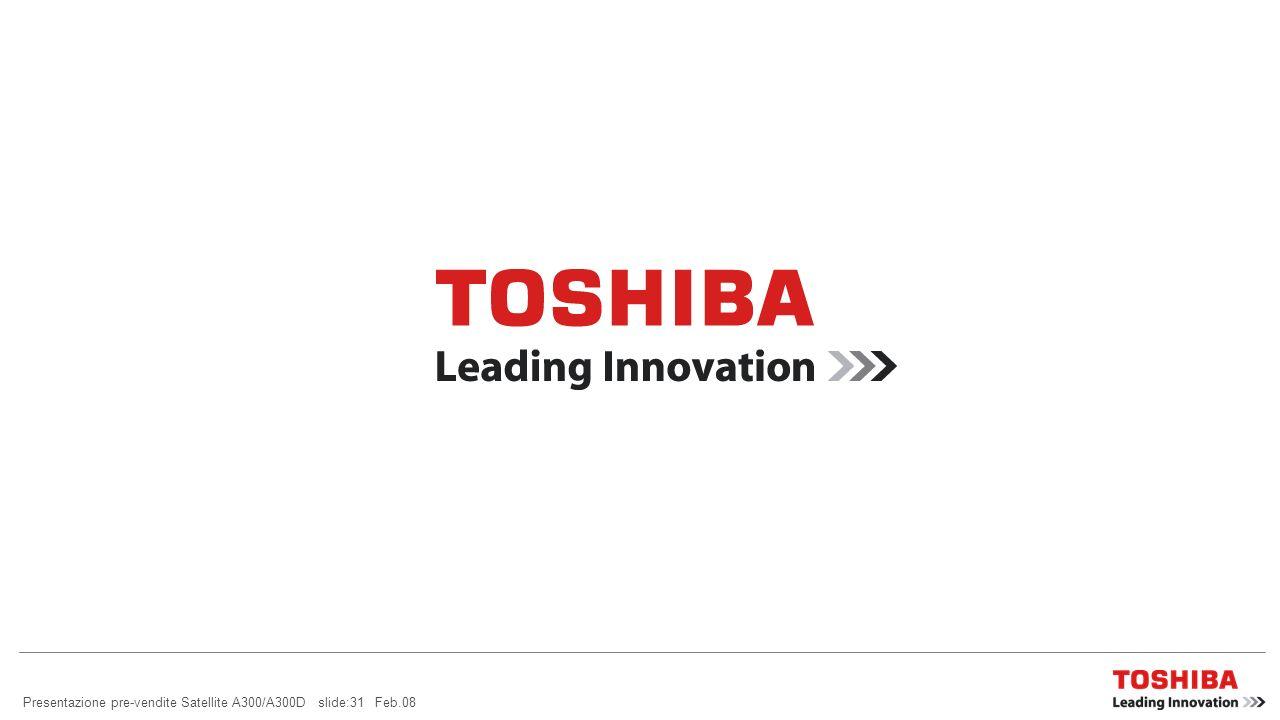 Presentazione pre-vendite Satellite A300/A300D slide:30 Feb.08 MC AFEE Internet Security Suite preinstallate sul vostro notebook Toshiba: McAfee ® Int