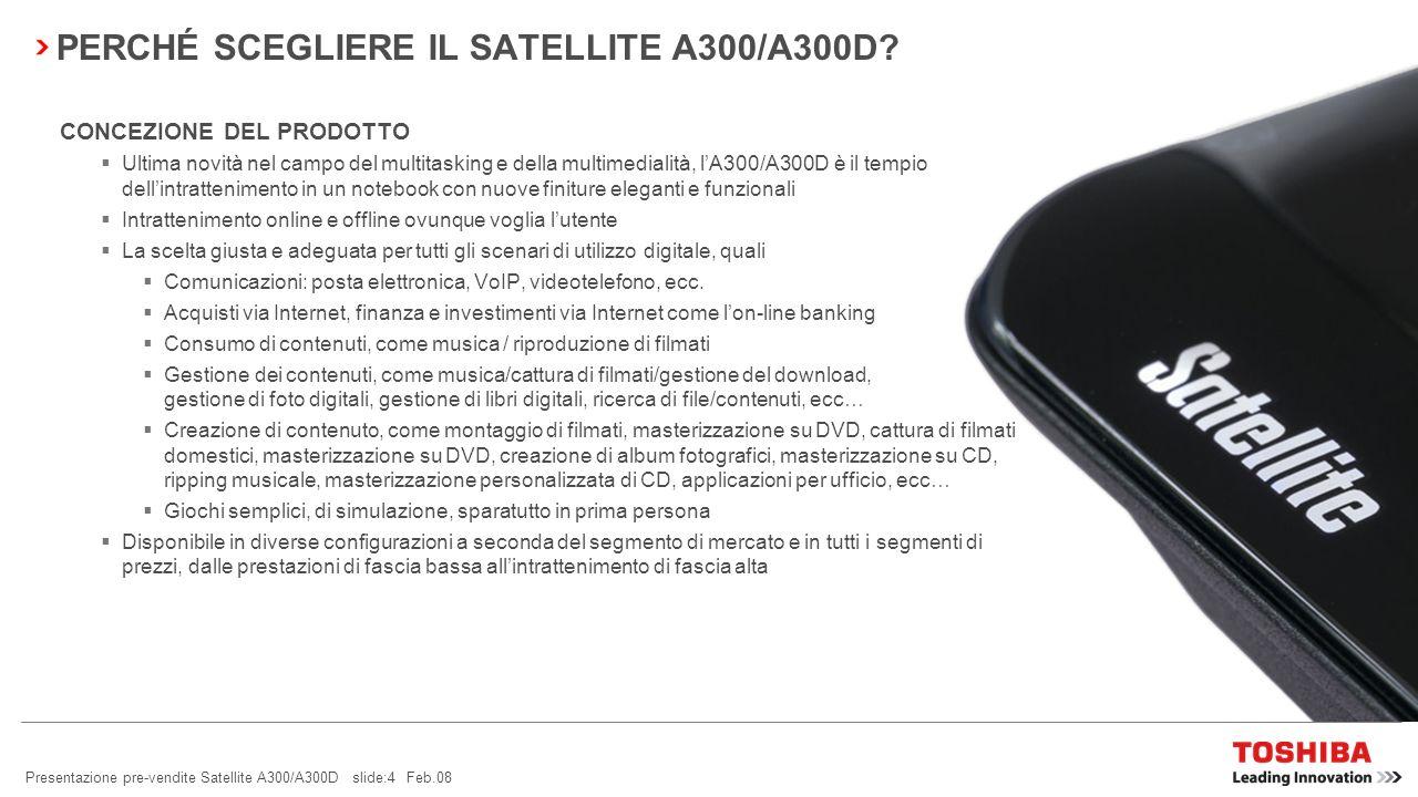 Presentazione pre-vendite Satellite A300/A300D slide:4 Feb.08 PERCHÉ SCEGLIERE IL SATELLITE A300/A300D.