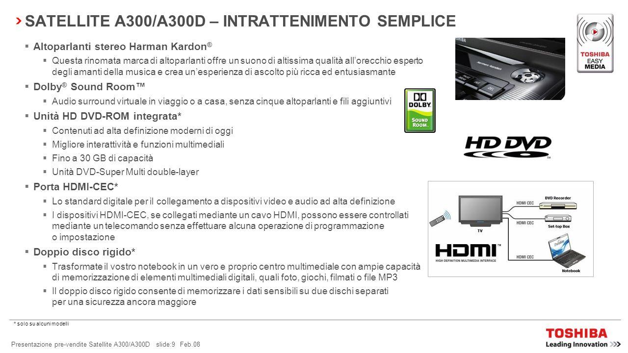 Presentazione pre-vendite Satellite A300/A300D slide:8 Feb.08 Il Satellite A300/A300D dispone di una gamma completa di caratteristiche Toshiba EasyMed