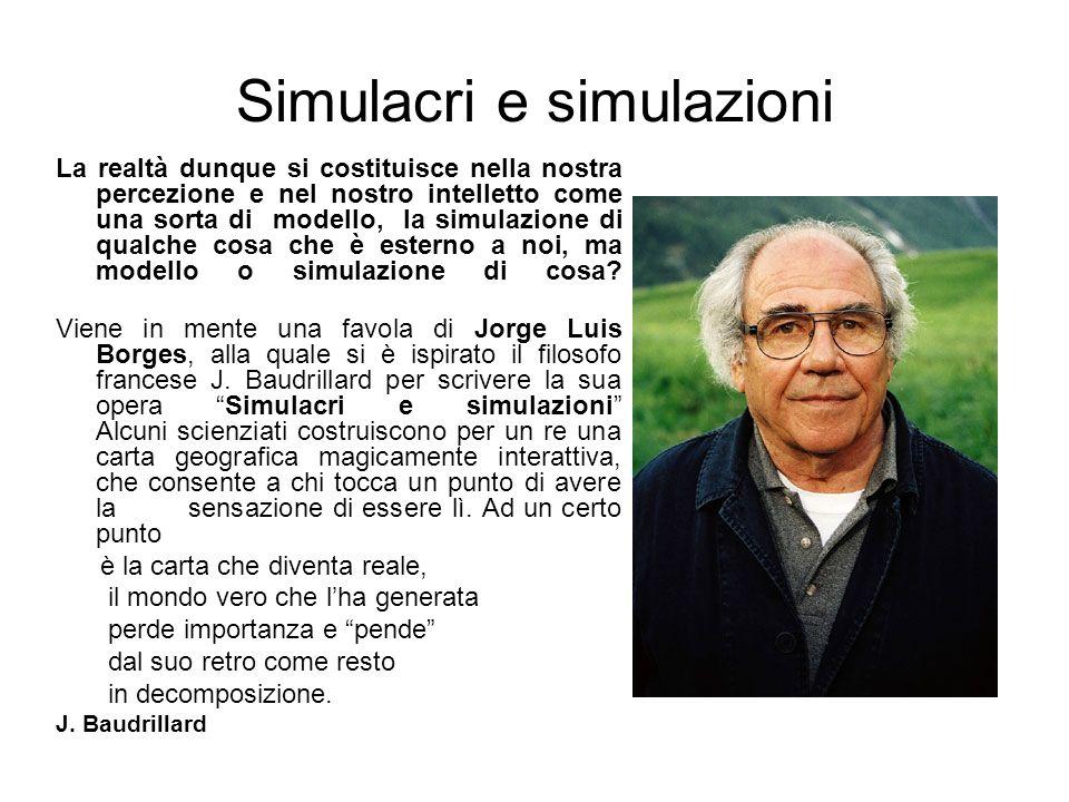 Simulacri e simulazioni La realtà dunque si costituisce nella nostra percezione e nel nostro intelletto come una sorta di modello, la simulazione di q