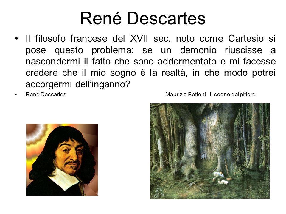 René Descartes Il filosofo francese del XVII sec. noto come Cartesio si pose questo problema: se un demonio riuscisse a nascondermi il fatto che sono