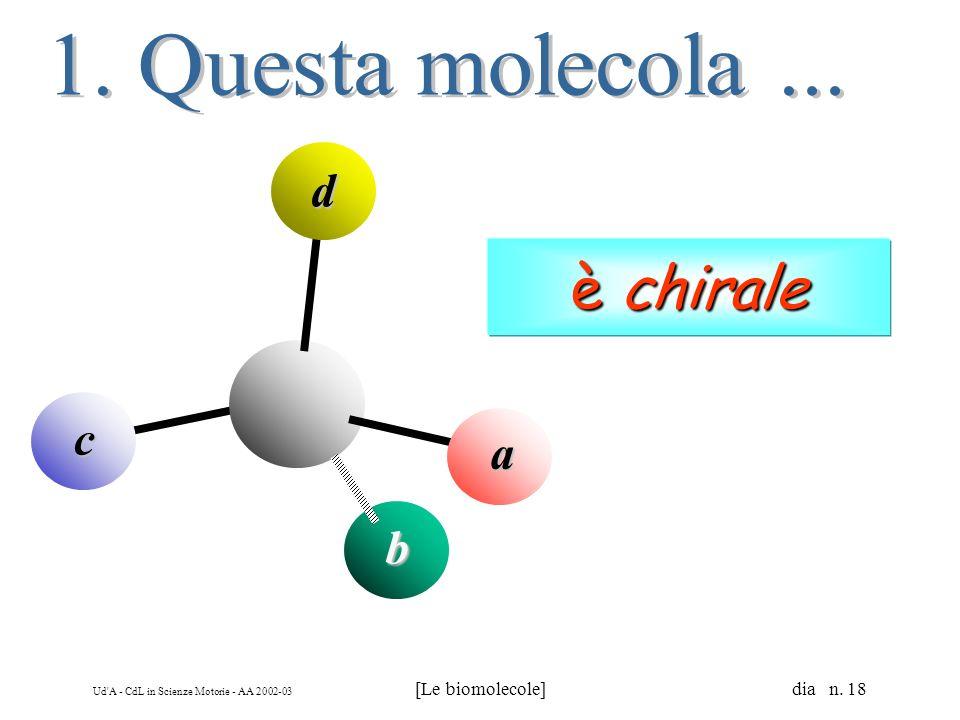 Ud'A - CdL in Scienze Motorie - AA 2002-03 [Le biomolecole] dia n. 18 a b c d è chirale è chirale