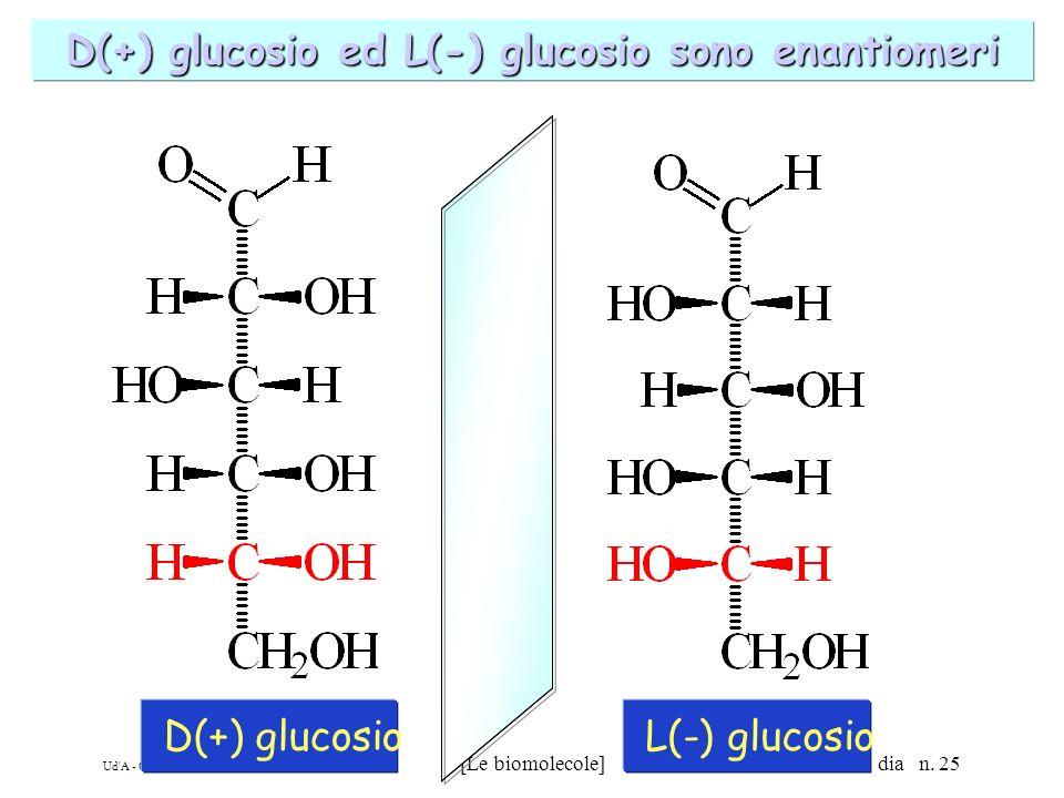 Ud'A - CdL in Scienze Motorie - AA 2002-03 [Le biomolecole] dia n. 25 D(+) glucosio ed L(-) glucosio sono enantiomeri D(+) glucosioL(-) glucosio