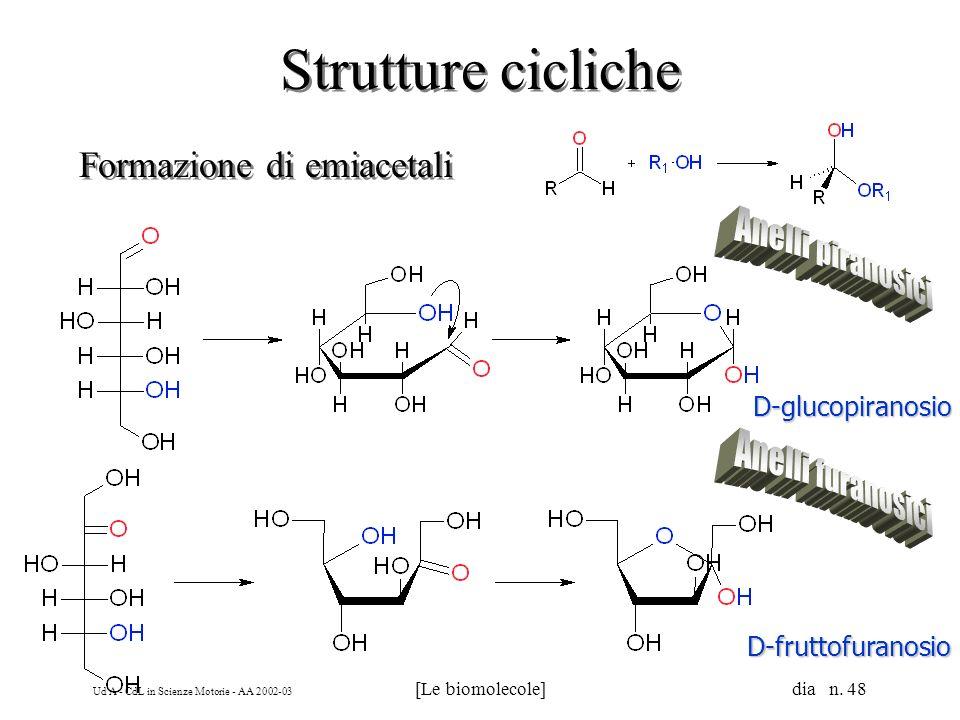 Ud'A - CdL in Scienze Motorie - AA 2002-03 [Le biomolecole] dia n. 48 Strutture cicliche Formazione di emiacetali D-glucopiranosio D-fruttofuranosio
