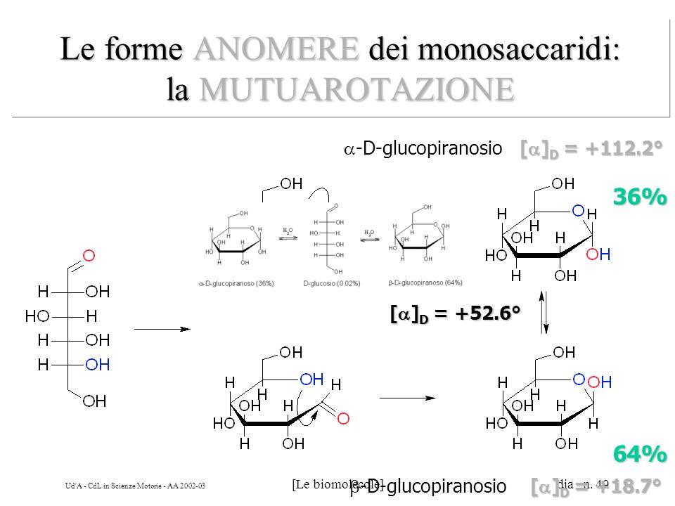 Ud'A - CdL in Scienze Motorie - AA 2002-03 [Le biomolecole] dia n. 49 Le forme ANOMERE dei monosaccaridi: la MUTUAROTAZIONE -D-glucopiranosio 36% 64%