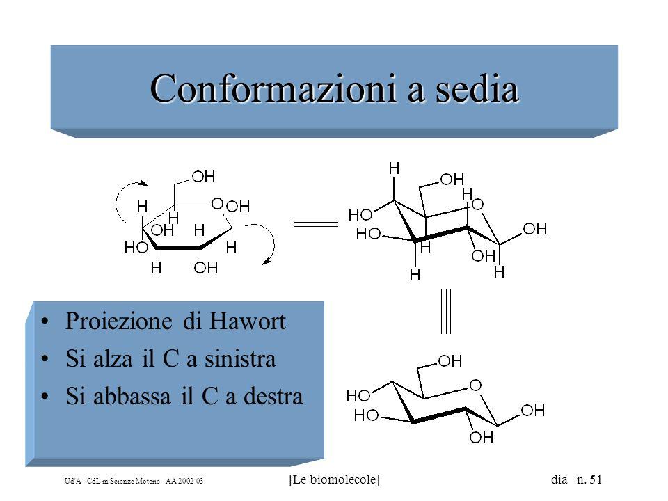 Ud'A - CdL in Scienze Motorie - AA 2002-03 [Le biomolecole] dia n. 51 Conformazioni a sedia Proiezione di Hawort Si alza il C a sinistra Si abbassa il