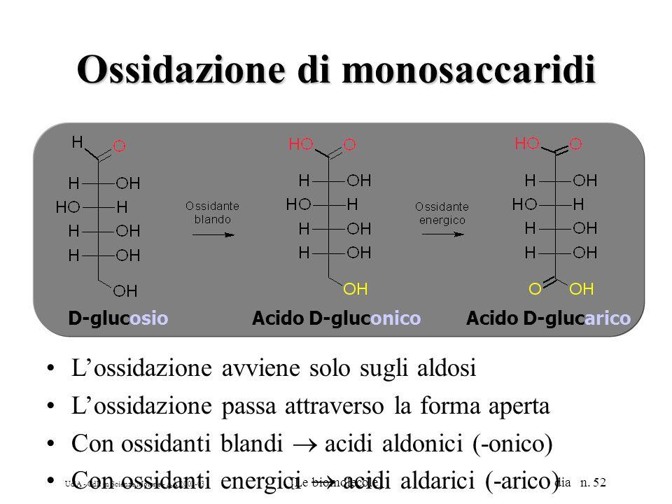 Ud'A - CdL in Scienze Motorie - AA 2002-03 [Le biomolecole] dia n. 52 Ossidazione di monosaccaridi Lossidazione avviene solo sugli aldosi Lossidazione