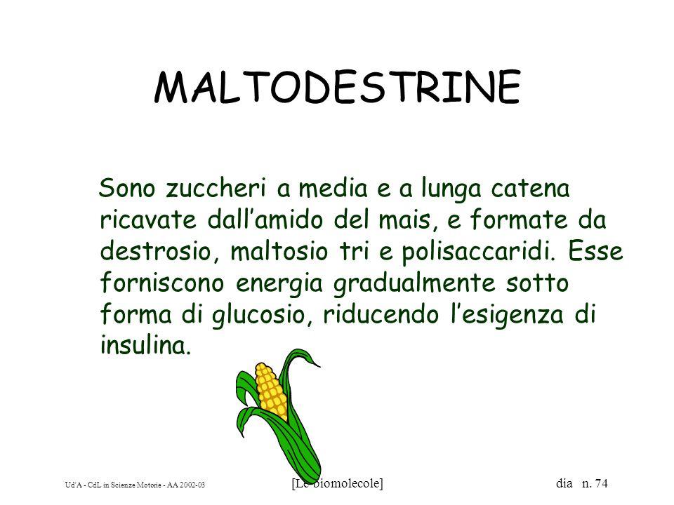 Ud'A - CdL in Scienze Motorie - AA 2002-03 [Le biomolecole] dia n. 74 MALTODESTRINE Sono zuccheri a media e a lunga catena ricavate dallamido del mais