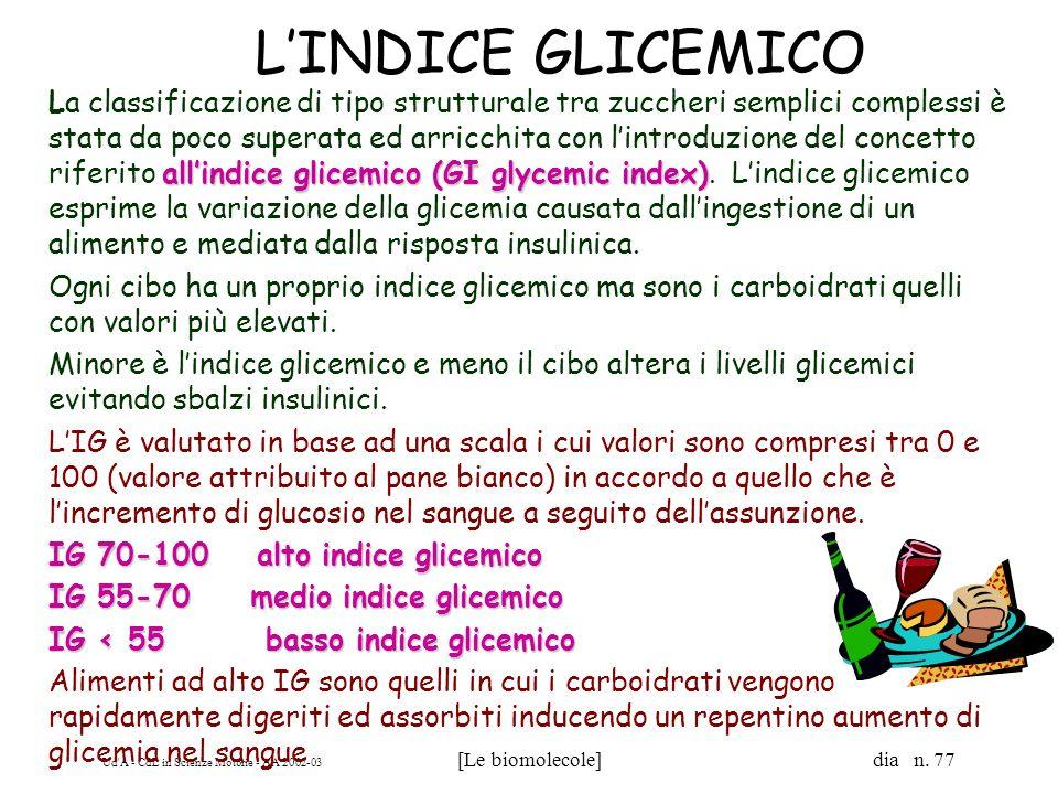 Ud'A - CdL in Scienze Motorie - AA 2002-03 [Le biomolecole] dia n. 77 LINDICE GLICEMICO allindice glicemico (GI glycemic index) La classificazione di