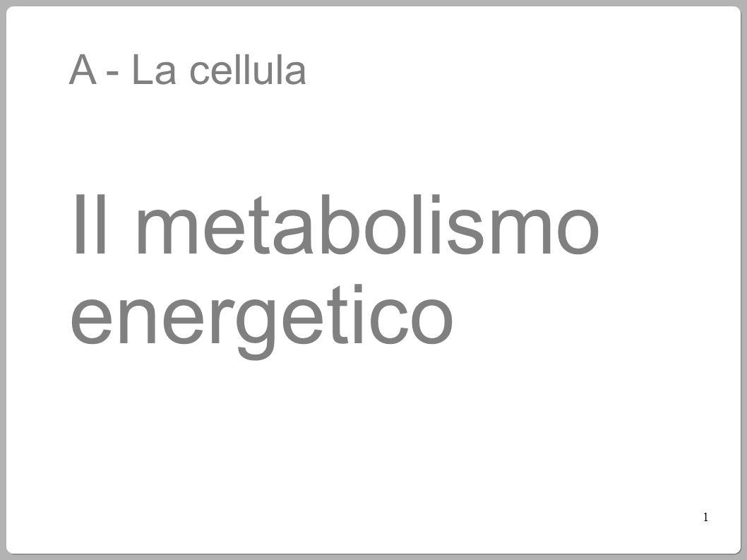A - La cellula Il metabolismo energetico 1