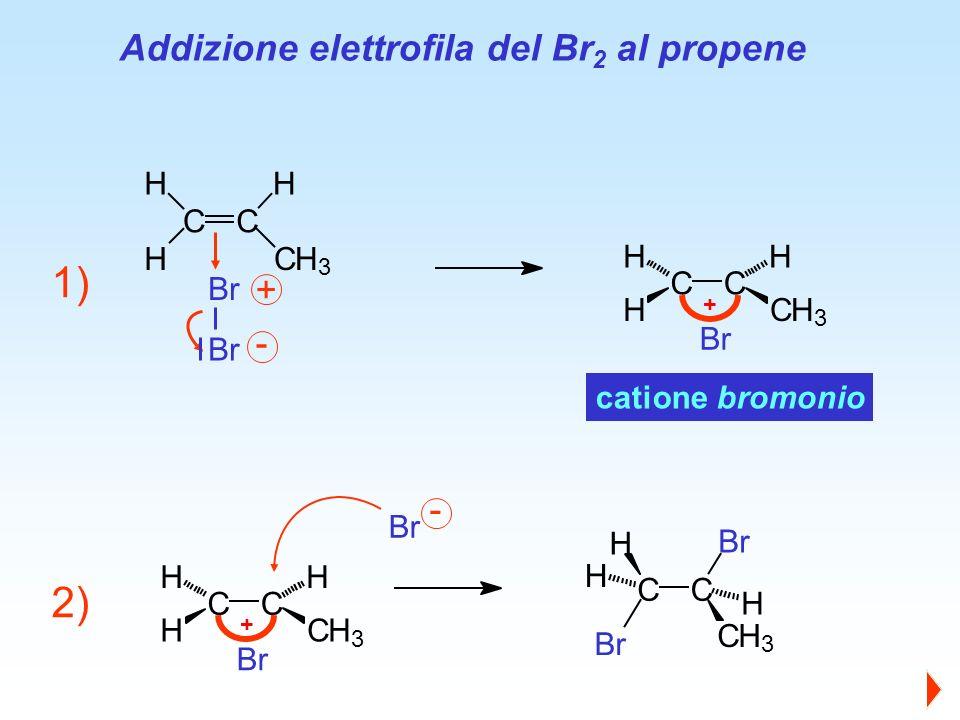 CC H CH 3 H H Br catione bromonio Addizione elettrofila del Br 2 al propene 1) CC Br CH 3 Br H H H Br + CC HCH 3 HH + CC HCH 3 HH Br 2) - - +