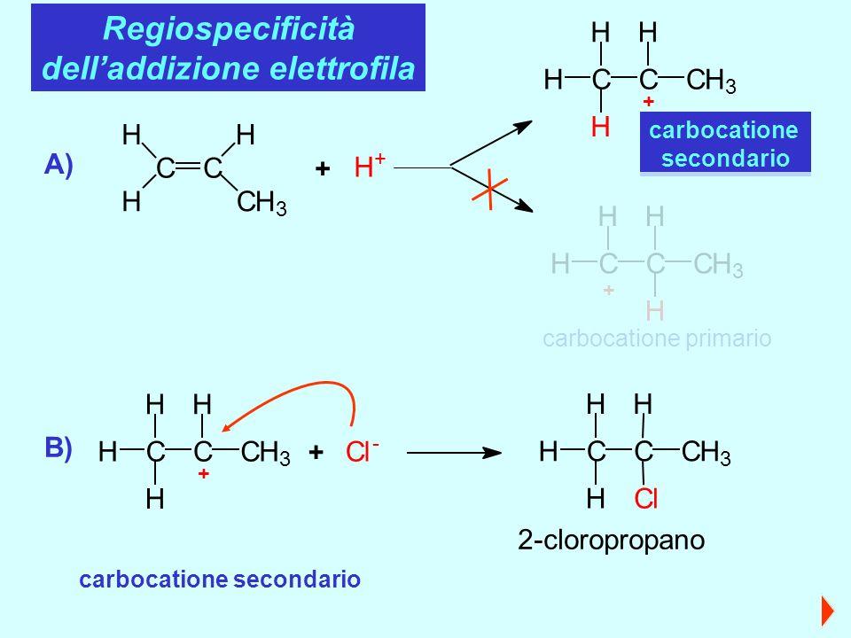 CC H CH 3 H H H + + HC H H C H CH 3 + carbocatione secondario H HC H C H CH 3 + carbocatione primario A) Regiospecificità delladdizione elettrofila carbocatione secondario B) + HC H H C H CH 3 + Cl - 2-cloropropano HC H H C H CH 3 Cl