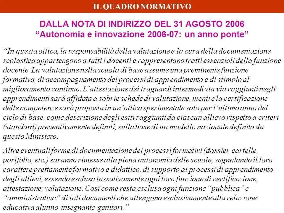 DALLA NOTA DI INDIRIZZO DEL 31 AGOSTO 2006 Autonomia e innovazione 2006-07: un anno ponte In questa ottica, la responsabilità della valutazione e la c